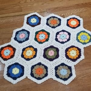 Granny Square Crocheted Vintage Doilly